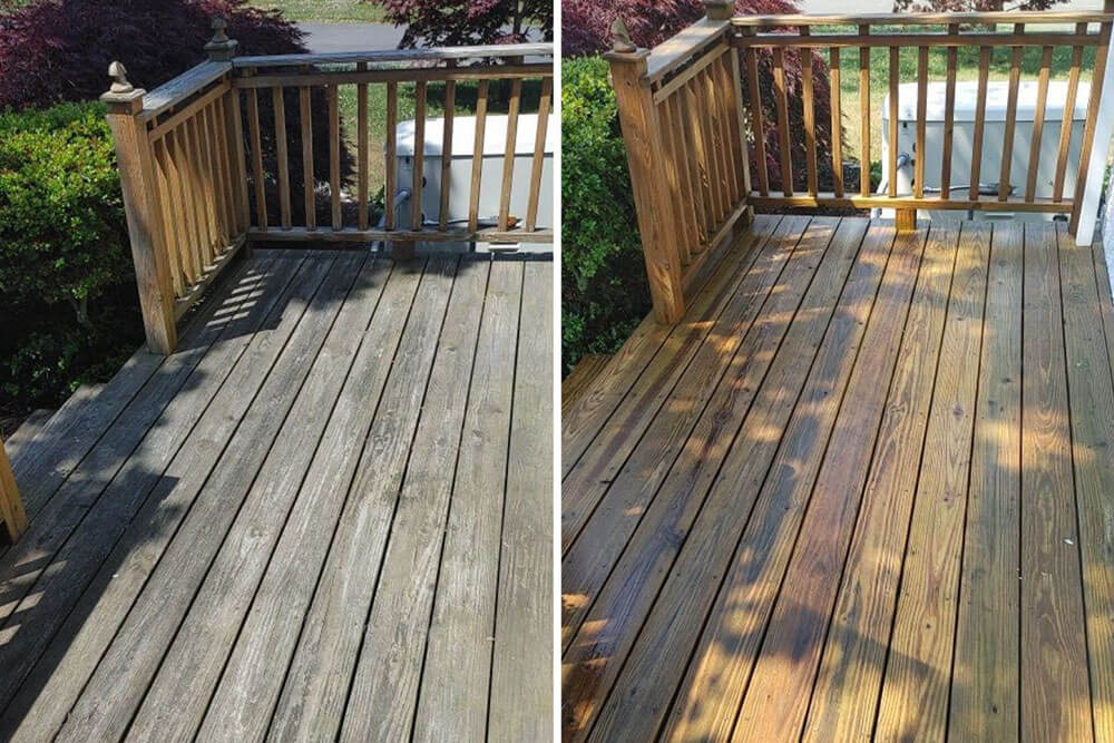 Before and after images of ELCO Painting deck maintenance