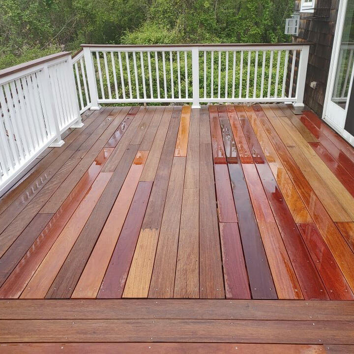 Residential Rhode Island deck after ELCO Painting deck staining