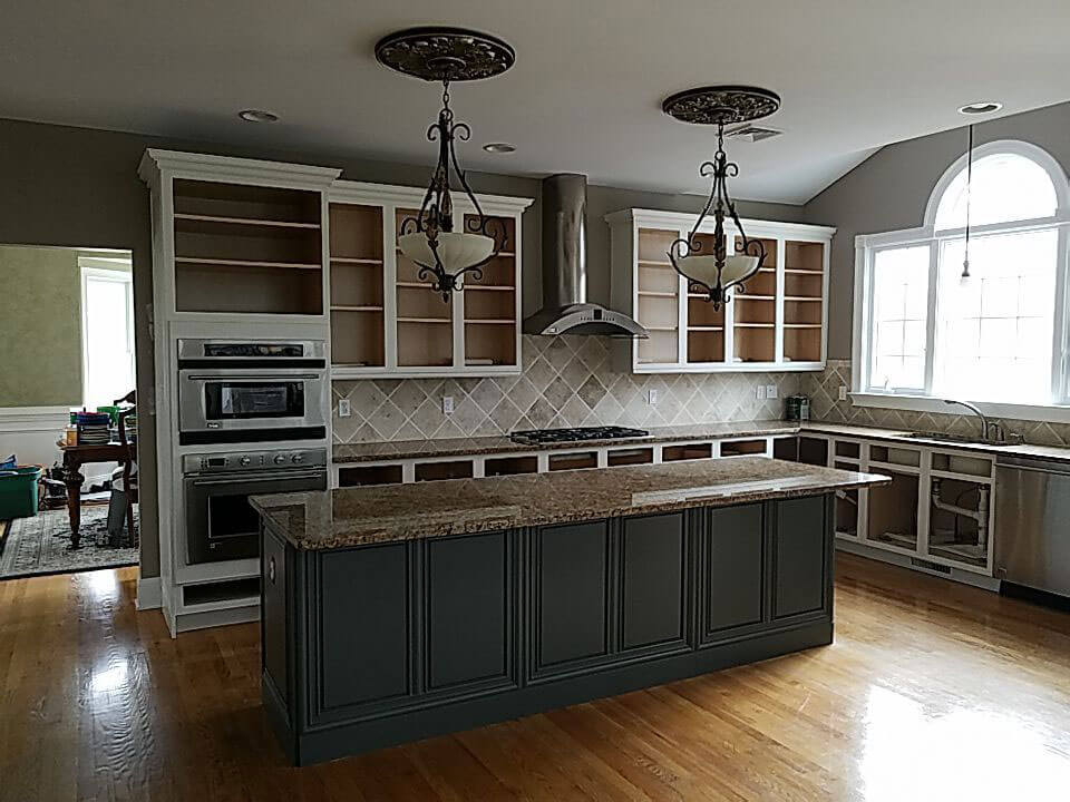 ELCO Painting Rhode Island cabinet before painting services