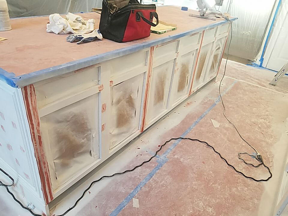 ELCO Painting Rhode Island cabinet sanded before painting